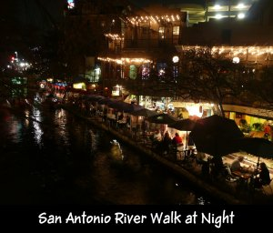 San Antonio River at night