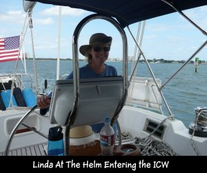 P1150076 Linda at helm entering ICW at St Lucie
