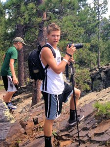 Blake has always loved taking pictures.  He carried my camera on our scenic drives.