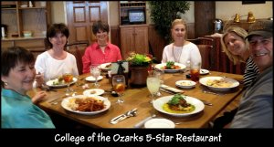 Claudette, Nola, Kay, Valarie, Linda, Mike at College of Ozarks