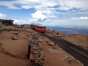 Cog Train at the 14,110 ft summit of Pikes Peak