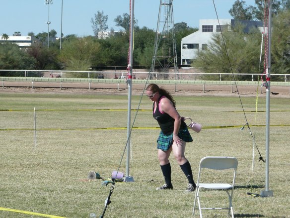 Hammer Throw - is thrown over the shoulder