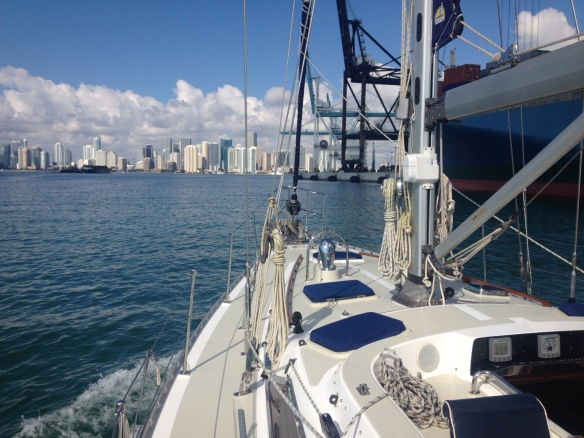 s/v Aquila approaching Miami for the boat show this weekend!