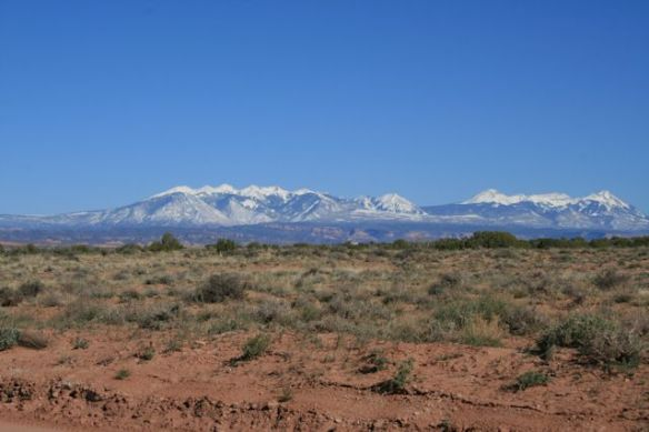 View of La Sal Mountains from our campsite