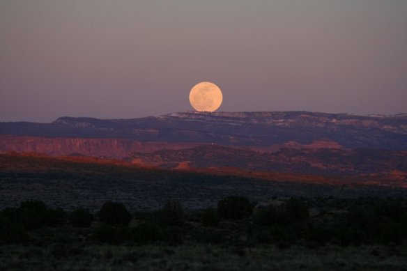 Full Moon rising over the La Sal Mountains - view from our campsite