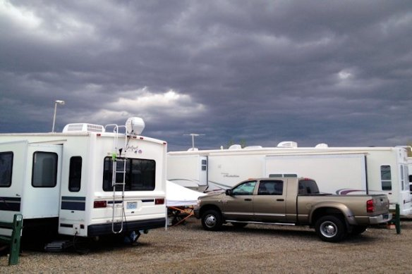 The typical parking lot style RV park, but we felt secure here for the storm