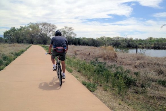 Riding our bikes on the Colorado Riverfront Trail
