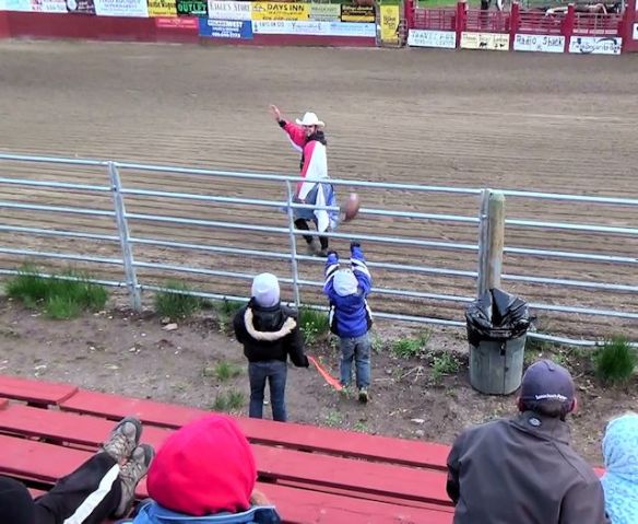 Brady Plays Catch With The Rodeo Clown