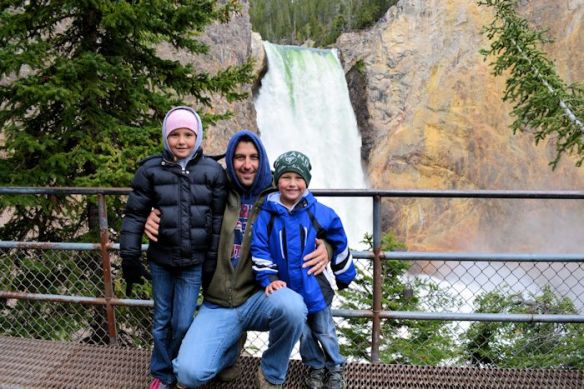 Kailyn, Sean and Brady at the Upper Falls Overlook