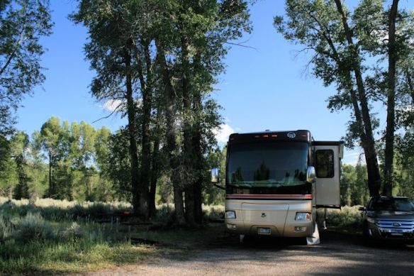 Our campsite at Gros Ventre, Loop B, with river running behind us