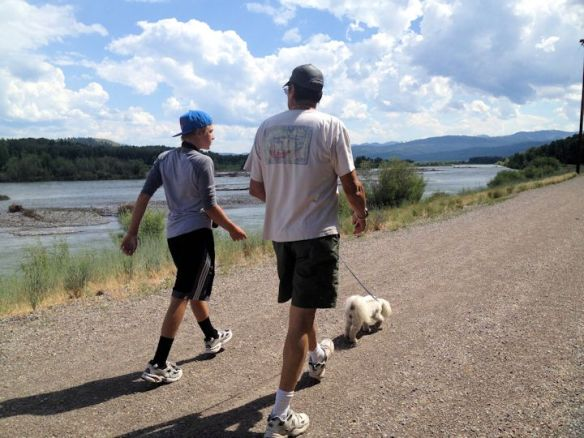 Walking Lucy Along The Riverfront Trail Near Jackson Hole