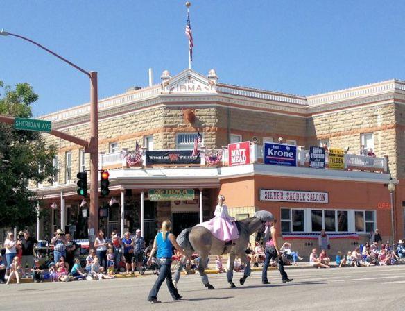 Kids Parade passing Buffalo Bill's Historic Irma Hotel