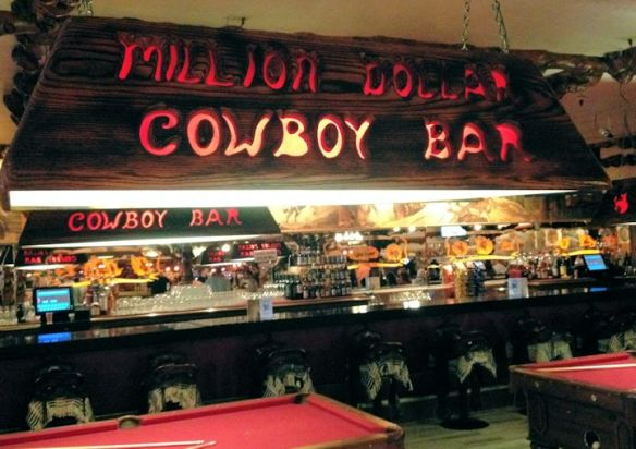 Bar Stools are Saddles in The Million Dollar Cowboy Bar in Jackson Hole