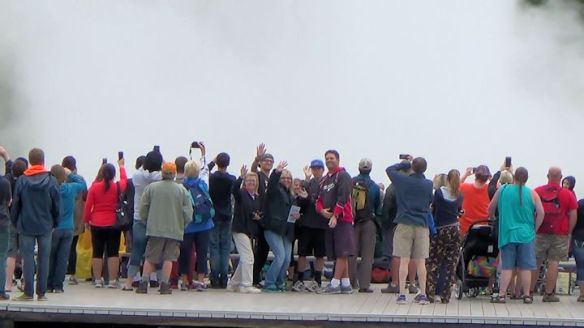 That's us in the middle of the crowd at Old Faithful