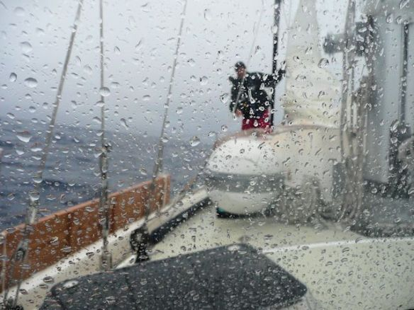 Mike Is On Deck Hoisting The Storm Sail In This Storm While Crossing The Atlantic Ocean.