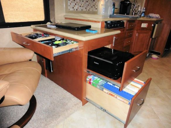 File Drawer, Printer Drawer, Large Divided Top Drawer, Double Shelf Slim Cabinet, and Electrical Power Strip.