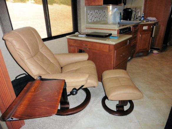 The Computer Table Folds Down; The Chair Swivels and Reclines for TV Watching