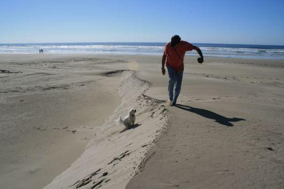 8 Lucy runs up dune