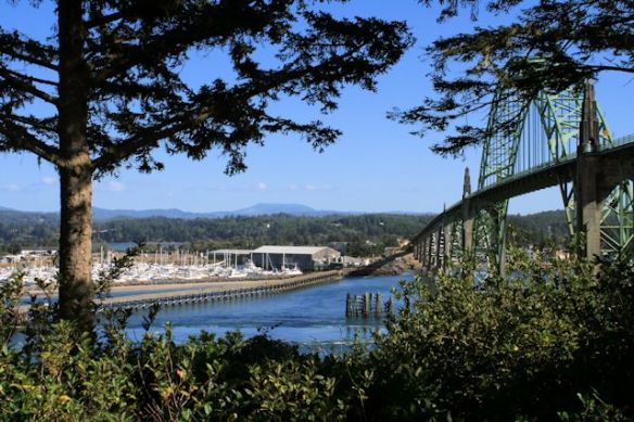 Yaquina Bay Bridge with Newport Marina in background