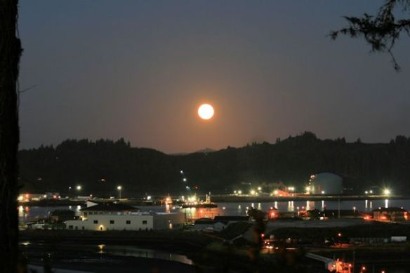 Harvest Moon over Newport Harbor
