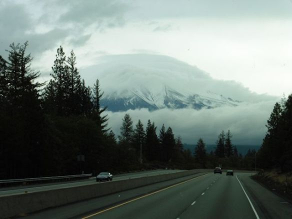 On the road south, Mt. Shasta in the clouds.