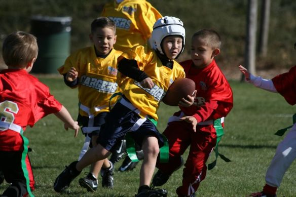 Brady (6) started Flag Football this year.