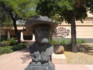 Bust of Henry Wickenburg, founder of the $30 million Vulture Mine, died penniless in 1905