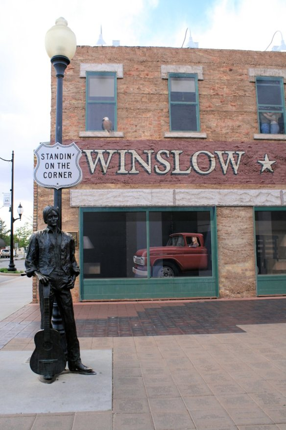 Standing on the corner in Winslow Arizona, and such a fine sight to see.  It's a girl, my Lord, in a flatbed Ford, slowin' down to take a look at me.