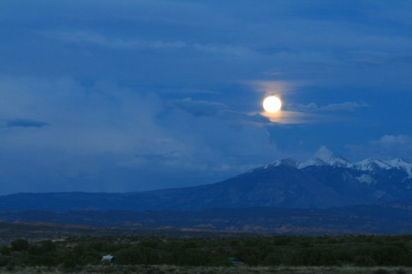 Full Moon Over The La Sal Mountains (View from our camp)