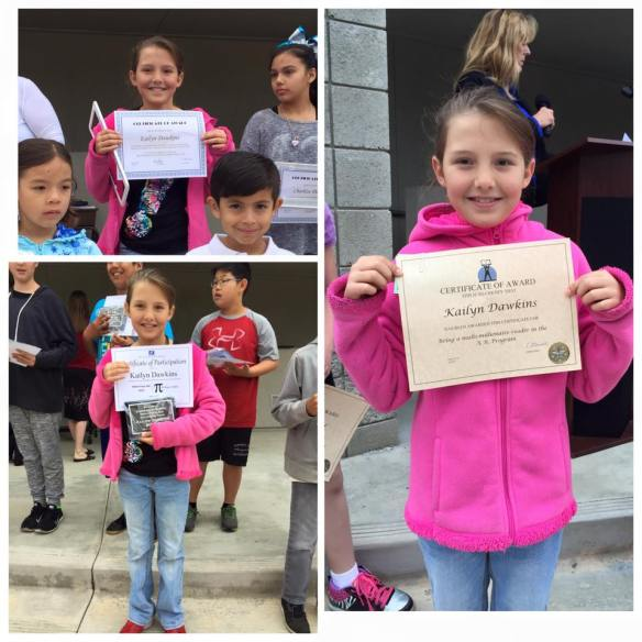 Kailyn earns awards in Math, Reading, and the 6 Pillars of Character
