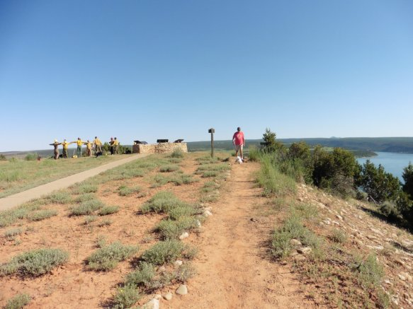 Approaching the overlook and a crew of firefighters doing exercises