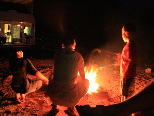 We enjoyed roasting marshmallows around the campfire