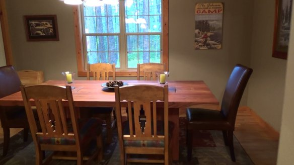 The dining room table was handmade by a local artisan in Durango.