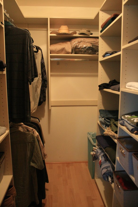 We each have our own walk-in closet.